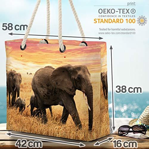 VOID elefanter Steppe Afrika Strandväska Shopper 58 x 38 x 16 cm 23 L XXL shoppingväska väska resväska Beach Bag