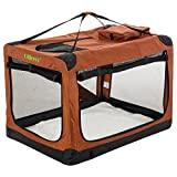 Ollieroo Soft Dog Crate Kennel for Pet Indoor Home & Outdoor Use - 3 Door Folding Travel Carrier with Fleece Mat & Straps (Brown)