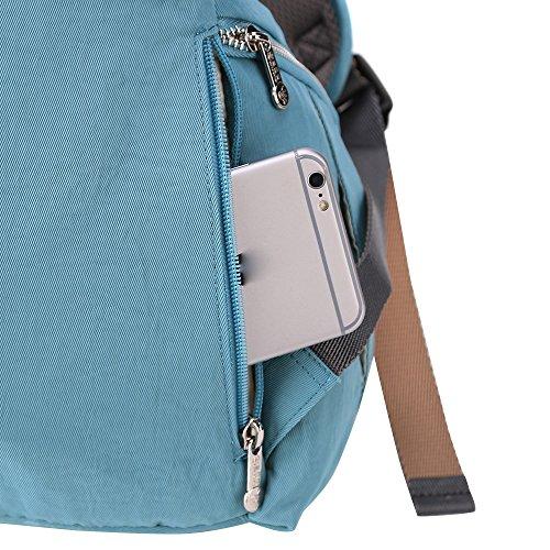 Sunveno Multifunción Impermeable Bolso cambiador de pañales Mochila de pañales para mamá con cambiar de mat (azul) azul