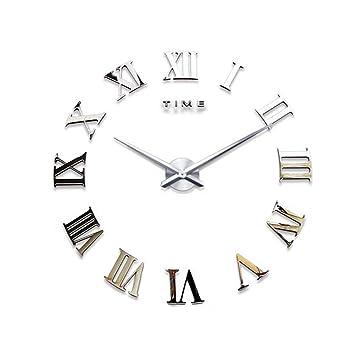 DIY - Reloj de pared 3D con números romanos de metal para decoración del hogar DIY números romanos plata: Amazon.es: Hogar