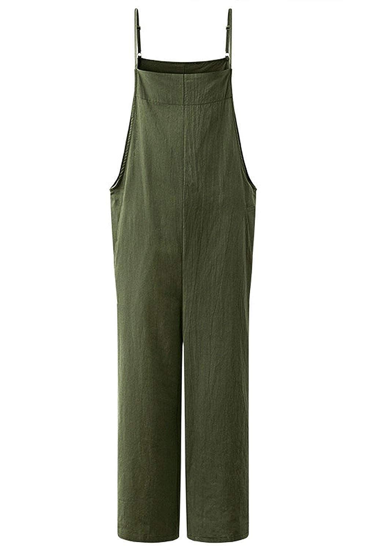 MAGIMODAC Women Summer Cotton Dungarees Casual Baggy Jumpsuit Playsuit Retro Trousers Pants Plus Size Oversize UK 8 10 12 14 16 18 20 22