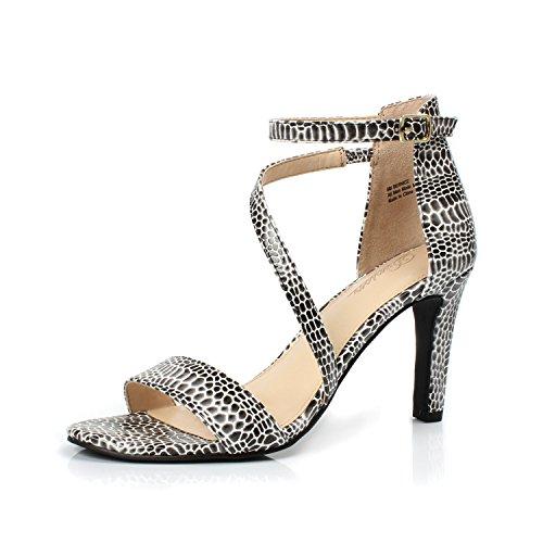 - DUNION Women's Bernice Comfortable Open Toe Strappy Stiletto High Heel Dress Sandal,Black&White,11 M US