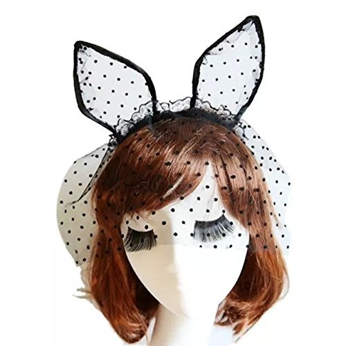 Lace Rabbit Mask (Goege Sexy Dot Rabbit Bunny TUTU Ears Lace Gauze Veil Hair)