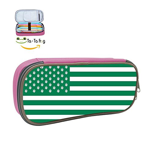Grrry Cool Medical Marijuana American Flag Stationery Pen Bag Zipper Pencil Cases by Grrry