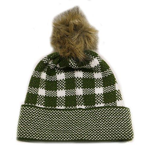 - City Hunter Ck360 Winter Check Knit Fox Fur Pom Beanie Hat - Olive