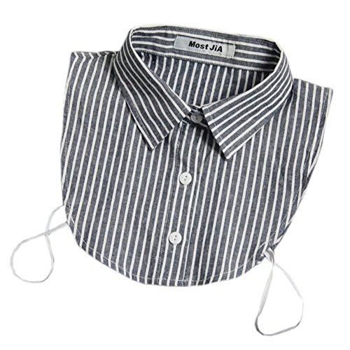 Joyci Unisex Stylish Stripe Casual Half Shirt Winter Blouse False Collar (Navy Blue)