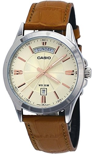 Date Day Watch Quartz (Casio #MTP1381L-9AV Men's Classic Leather Band 50M Day Date Gold Dial Watch)