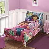 Dora Explorer Create Art Satin 4pc Toddler Bedding Set
