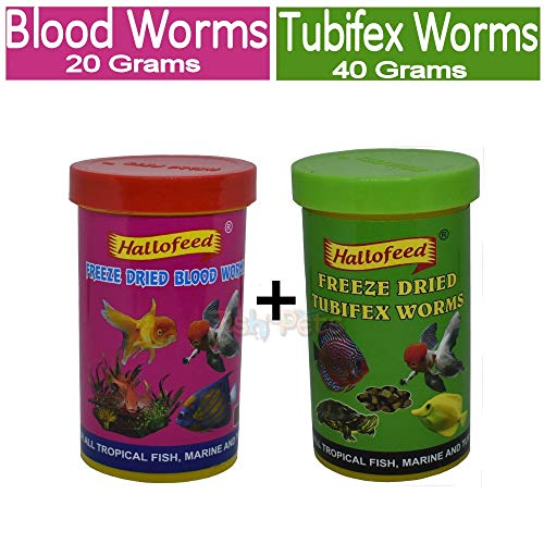 FishAsPets Hallofeed Freeze Dried Worms - Combo of 20 Grams Blood Worms + 40 Grams Tubifex Worms
