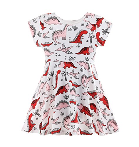 Fozerofo Baby Girl Summer Dinosaurs Print Dress Short Sleeve Casual Skirt Outfit by Fozerofo