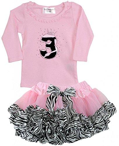 Bubblegum Divas Little Girls 3rd Birthday Pink Zebra Print Animal 2pc Outfit (Cute Circus Outfits)