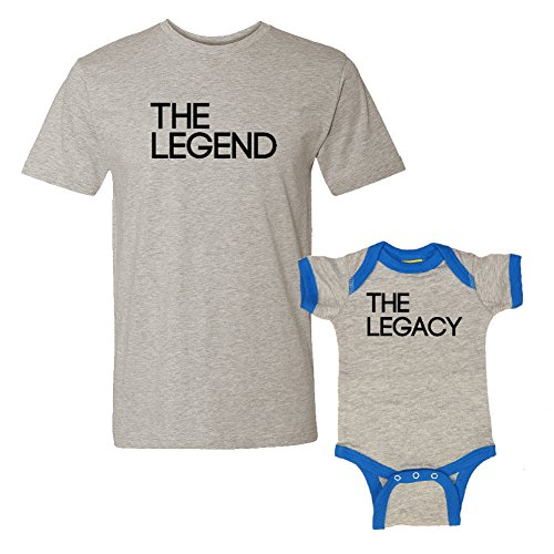 We Match! The Legend & The Legacy - Matching T-Shirt & Ringer Baby Bodysuit Set (12M Bodysuit, T-Shirt 2XL, Heather T-Shirt, Heather/Cobalt Ringer, Black Print)