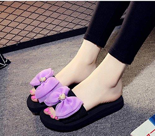 Purple Monoscocca Donna Platform Taglie Sandali CHENGXIAOXUAN Sandali da Fashion Fiocchi Spiaggia Basse Sandali Scarpe Scarpe Allentati Antiscivolo Romane Word da Casual Grandi 10BwAq