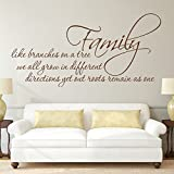 Family Like Branches On A Tree...Vinyl Wall Decal Family Wall Quotes Lettering Removable Family Tree Wall Sticker Mural For Bedroom Living Room£¨X-Large,Black£