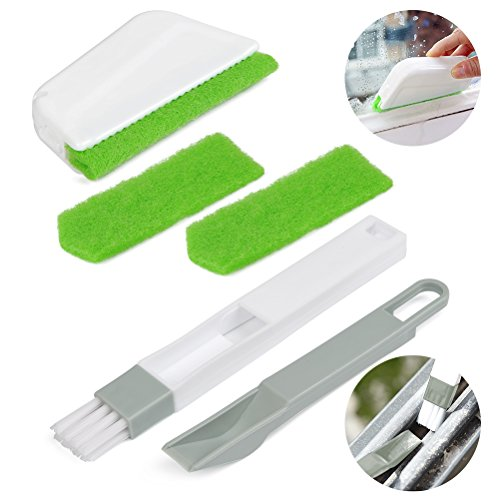 FOCCTS Tile Brushes Grout Cleaner Brush with Nylon Sponge Bristles for Bathroom Kitchen Shower Window Track Groove Gap Joint Deep Cleaning