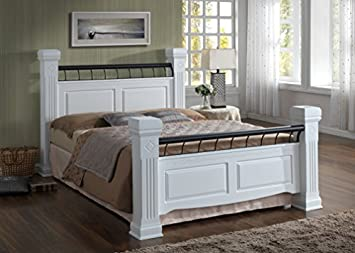 Candid Furniture Rolo Solid Bed Frame Painted White Chunky Posts