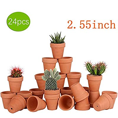 24pcs Small Mini Clay Pots, 2.55'' Terracotta Pot Clay Ceramic Pottery Planter, Cactus Flower Terra Cotta Pots, Succulents Nursery Pots, with Drainage Hole, for Indoor/Outdoor Plants, Crafts, Wedding : Garden & Outdoor