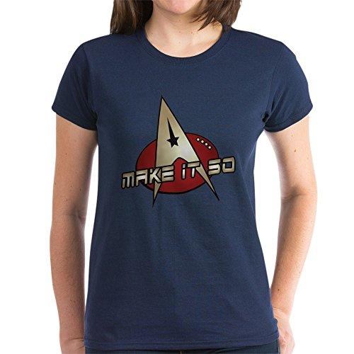 CafePress - Make It So Star Trek Women's Dark T-Shirt - Womens Cotton T-Shirt Navy ()