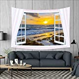 smallbeefly Coastal Tapestry Wall Tapestry Open Window View of The Sky with Clouds Rising Sun Seascape Grass Morning Scenery Art Wall Decor 60''x51'' Multicolor