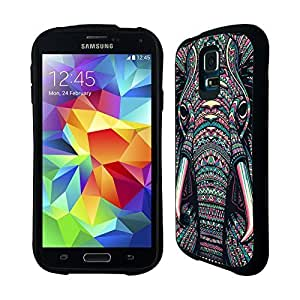 AIYAYA Samsung Case Designs Elephant Aztec Animal Faces Hybrid Gel Back Case for Samsung Galaxy S5