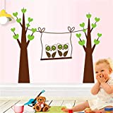 Decorate Your Home The TV in The Living Room, The Walls Decorated with Posters Cartoon Romantic Couples Removable Wall Sticker owl Tree
