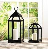 Garden Lantern Set Black Colored Metal Indoor & Outdoor Decorative Candle Holder Lamp For Home Patio Backyard