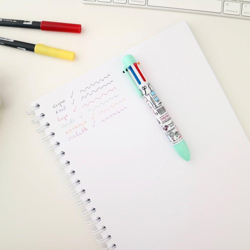 6-Farben Schüler Kugelschreiber  blau,grün,lila,orange+schwarz Mehrfarbig  Pro
