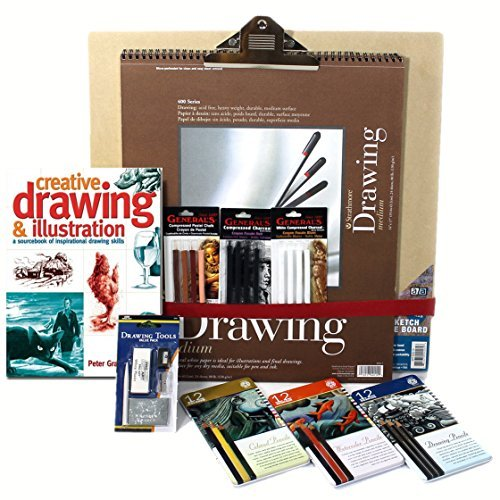 Artist Drawing Set, w/ Board, 3 Pencil & 3 Pastel Sets, 128pg Instruction Book & much more by Online Art Supplies