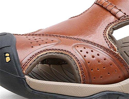 Sandales De Randonnée En Cuir Extérieur Ppxid Hommes Près De La Plage Rome Sandale Marron (b)