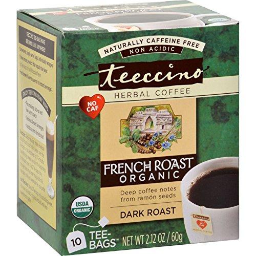 Teeccino French Roast Herbal Coffee Dark Roast - 10 Tea Bags - Case of 6 - 95%+ Organic (Teeccino Dark Roast Herbal Coffee)