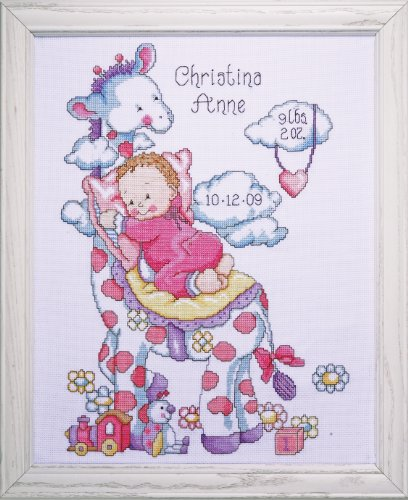 Tobin 14 Count Giraffe Birth Record Counted Cross Stitch Kit, 11 by - Record New Birth One Little