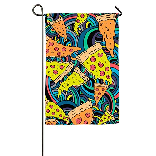 LMHB Pizza Meditation Floral Garden Yard Flag Banner-Best for Party and Decor -