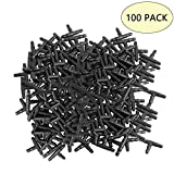 """Kalolary Barbed Connectors Drip Irrigation, 1/4"""" Universal Barbed Tee Fittings 100pcs, Fits 1/4"""" Drip Tubing (4/7mm Tee Pipe)"""