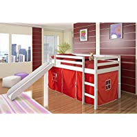 Twin Tent Loft Bed with Slide Color: Red, Finish: White