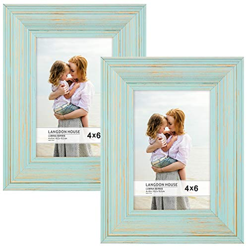 Langdons 4x6 Real Wood Picture Frames (2 Pack, Eggshell Blue - Gold Accents), Wooden Photo Frame 4 x 6, Wall Mount or Table Top, Set of 2 Lumina Collection