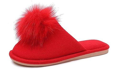 YOOEEN Zapatillas Casa Mujer Invierno cómodas Ligero Suave Pantuflas de Terciopelo Algodón Lindo Zapatillas de Estar por Casa con Pompones: Amazon.es: ...