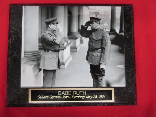 Babe Ruth US ARMY Salute Collector Plaque w/RARE 8x10 Photo saluting General Pershing -
