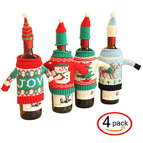 FEFEHOME Christmas Wine Bottle Cover Gift Warping Ugly Sweater (Set of 4) (Ugly Christmas Sweater Party Ideas)