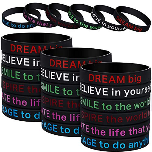 Cheap Silicone Wristbands (48 Pieces Silicone Bracelets Black Inspirational Silicone Wristbands Motivational Rubber Stretch Bracelets for Men)