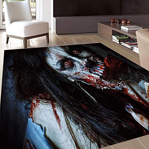 (Rug,Floor Mat Rug,Zombie Decor,Area Rug,Scary Dead Woman with Bloody Axe Evil Fantasy Gothic Mystery Halloween Picture,Home mat,3'x5'Multicolor,Rubber Non Slip,Indoor/Front Door/Kitchen and Living Roo)