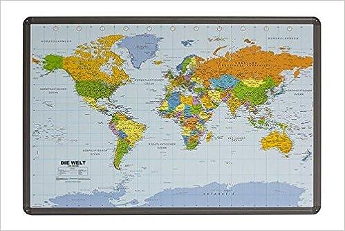 Politische Weltkarte Auf Kork Pinnwand Mit Alu Berahmung