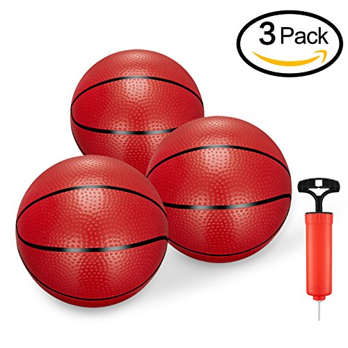 BESTTY Toddler/Kids Replacement Mini Toy Basketball Rubber Basketball for Kids,Teenager6.29 Basketballs (3PCS with Pump)