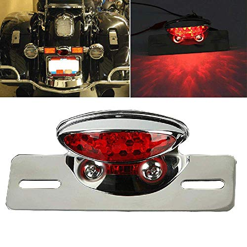 Sportbike Tail Lights - OSLAMP Motorcycle Integrated Rear LED Brake Tail Stop License Plate Running Light Chrome Red For Motors With Conventional Rear Fender Old Sportbikes