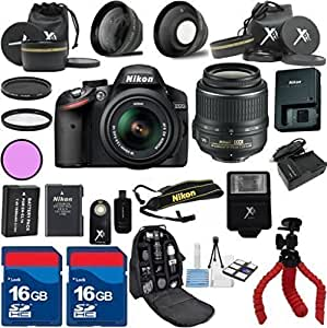 Nikon D3200 Black Camera with Nikon 18-55mm VR Lens Al's Variety Premium Bundle with Deluxe Backpack + XIT 3Pc Filter Kit + XIT Wide Angle Lens + XIT Telephoto Lens + Spider Flexible Tripod + Extra High Capacity Battery + Extra AC/DC Rapid Charger + 2pcs 16GB Bandwidth Memory Cards + 24pc Accessory Bundle Kit