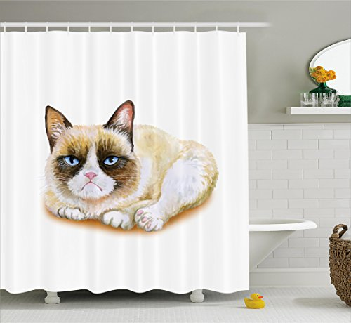 Ambesonne Animal Shower Curtain, Grumpy Siamese Cat Angry Paws Asian Kitten Moody Feline Fluffy Love Art Print, Fabric Bathroom Decor Set with Hooks, 75 Inches Long, Brown and Beige