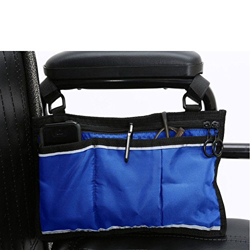 "- Wheelchair Bag Side Pouch Basket Storage Organizer Tote Pockets for Your Mobility Devices. Fits Most Scooters, Walkers, Rollator - Manual, Powered or Electric Wheelchairs 14"" x7.5"".(HZC139) (Blue)"