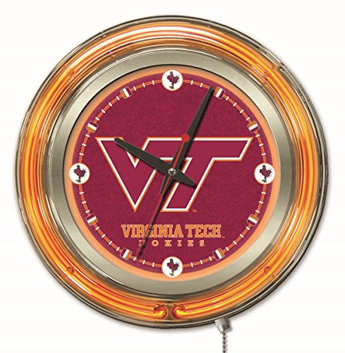 Holland Bar Stool Co. NCAA Virginia Tech Hokies Double Neon Ring 15-Inch Diameter Logo Clock