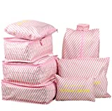 7 Set Travel Packing Organizer,Waterproof Mesh Durable Luggage Travel Cubes,1 Shoe Bag (Pink Stripe)