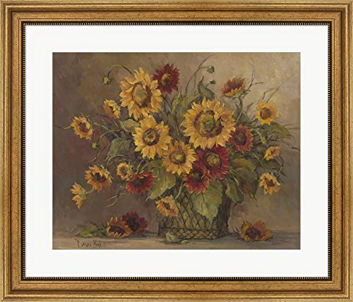 Sunflower Bouquet by Barbara Mock Framed Art Print Wall Picture, Wide Gold Frame, 28 x 24 inches