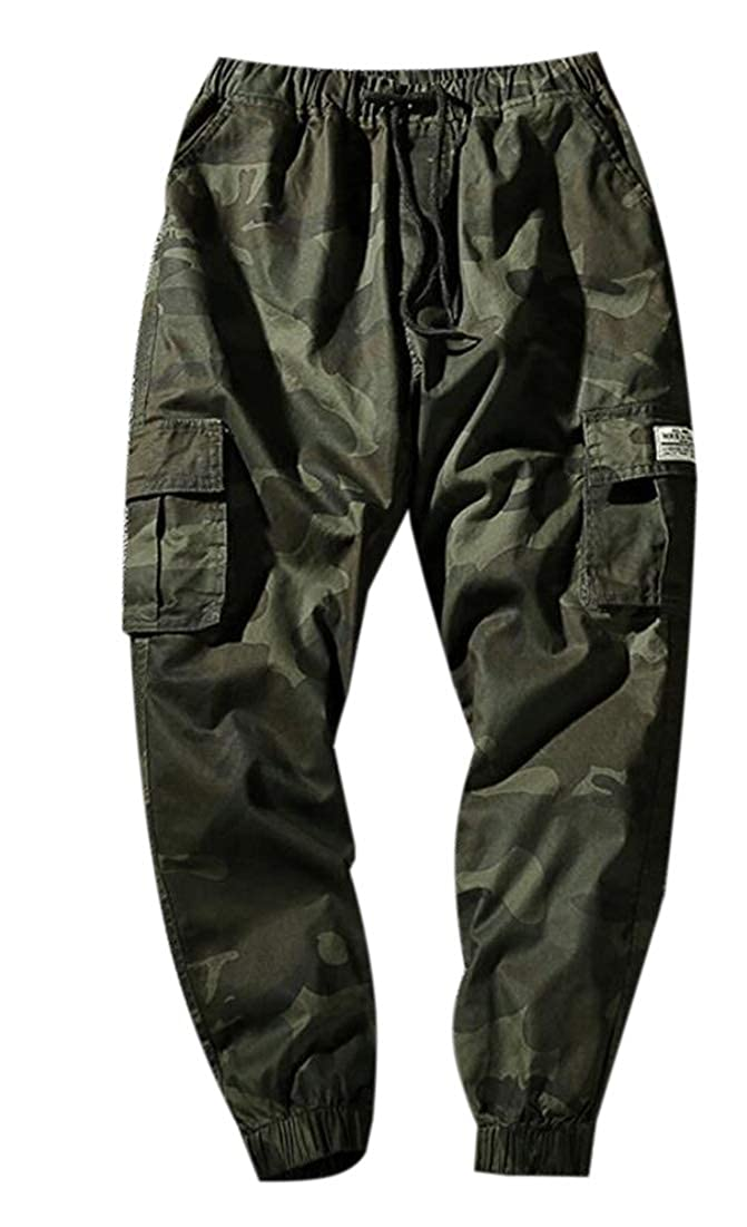 Zantt Men Camouflage Print Multi Pockets Elastic Waist Fashion Cargo Pants